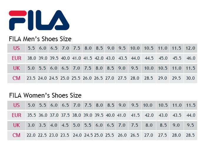 Fila Sneakers Maattabel   Strating Schoenen